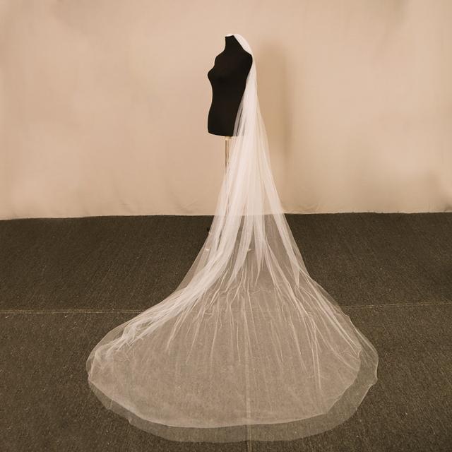 Bridal veil velos de novia Ivory wedding Veil , 3 meter  two layer long  wedding veils