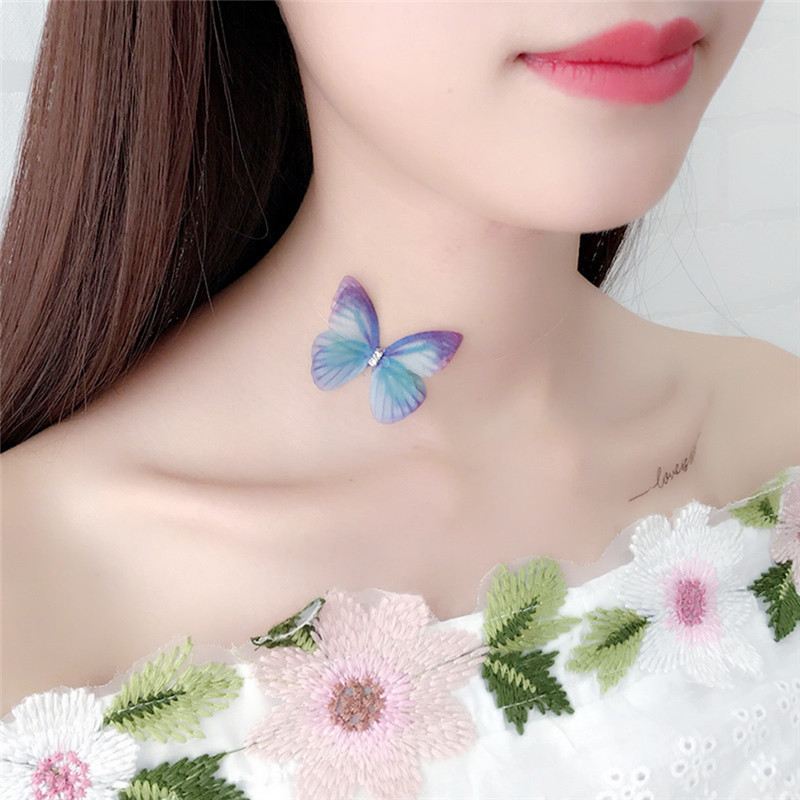 2018 Elegant Doublelayer Yarn Butterfly Wings Necklace Women Invisible Fish Tape Clavicle Choker Necklace Fishline Collares R4 Delaying Senility