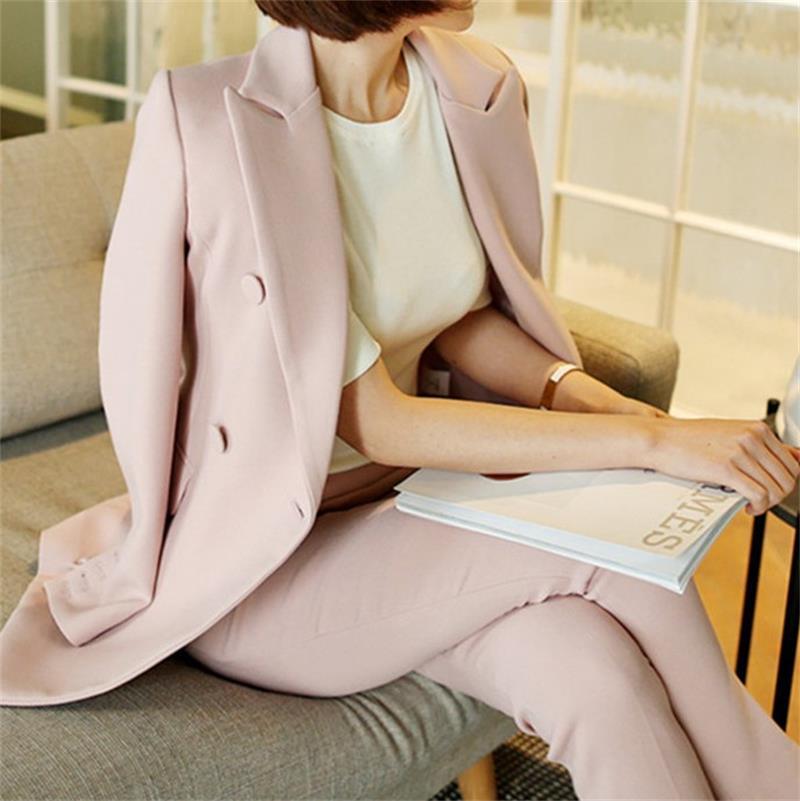 2 Costume Banlieue Mince Était Ol D'hiver 1 pièce Pantalon Qualité Mode Veste 2018 Et Nouvelle Sauvage Automne Haute Droit De Deux Femelle xwPPqa8F17