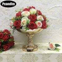Peandim Gold Flower Vase Wedding Decoration Flowers Holder Fruits Pot Sweets Tray Baking Tools For Party Events Home Table Decor