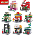 HSANHE Mini Building Blocks Bricks Architecture Nanoblockse Kids Educational Compatible Legoe christmas toys gifts for children