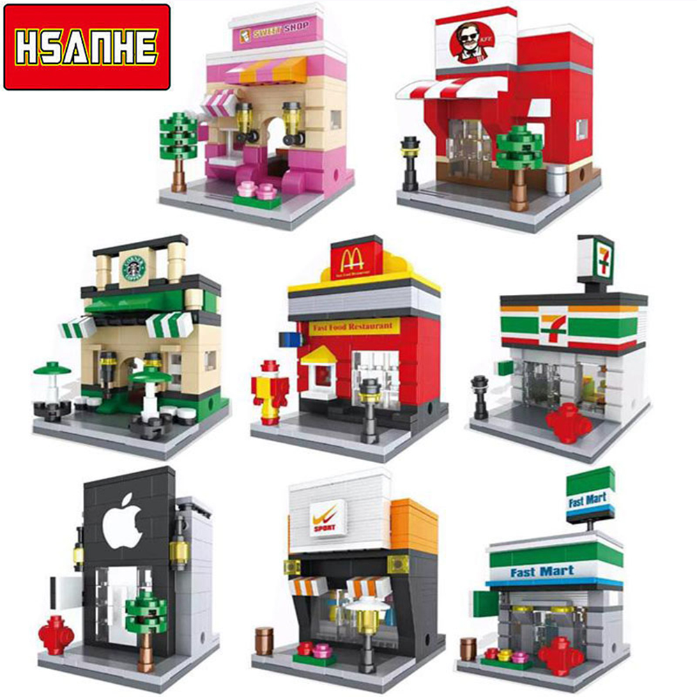 HSANHE Mini Micro Street Building Blocks Educational Toys Compatible With Legoe Blocks City Bricks Gifts For Children Kids 0367 sluban 678pcs city series international airport model building blocks enlighten figure toys for children compatible legoe