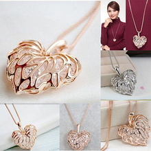 Women Fashion Hollow Heart Bib Statement Long Sweater Chain Necklace Jewelry