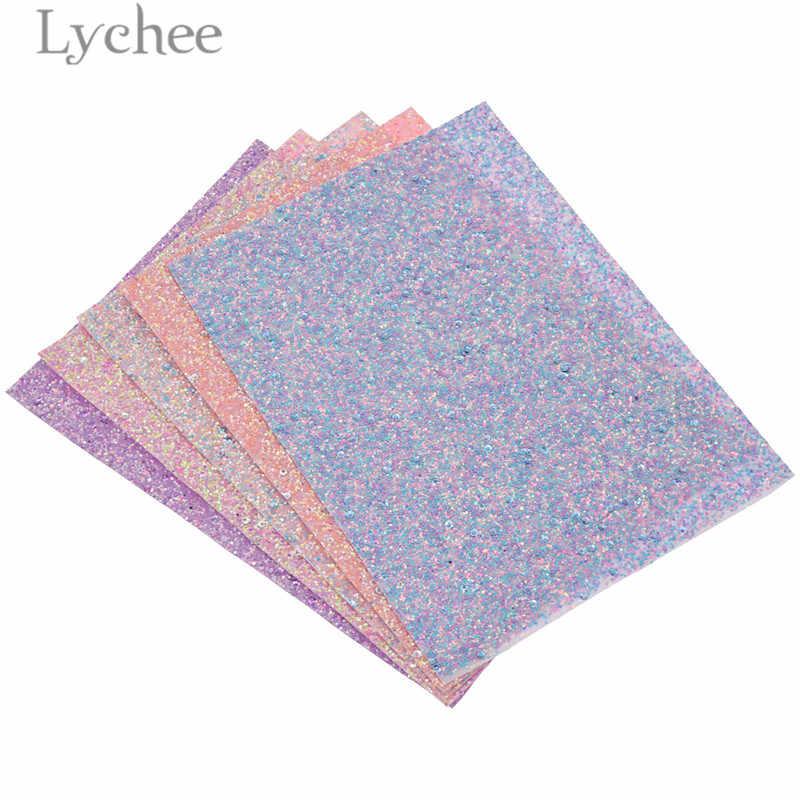 Lychee 15x21 cm A5 Chunky Glitter Faux DELL'UNITÀ di ELABORAZIONE Del Tessuto di Alta Qualità Per Cucire In Pelle Sintetica Materiale FAI DA TE Per La Borsa capi di abbigliamento