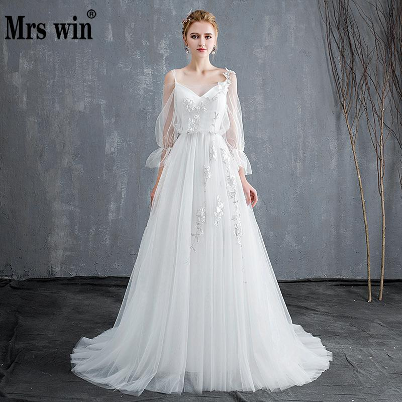 2019 New Simple Wedding Dress Mrs Win Elegant Full Puff