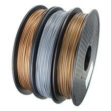 1pcs Metal PLA Blended 3D Filament 1.75mm 0.5kg for RepRap 3D Printer Materials Sliver/Copper/Gold Three colors to choose