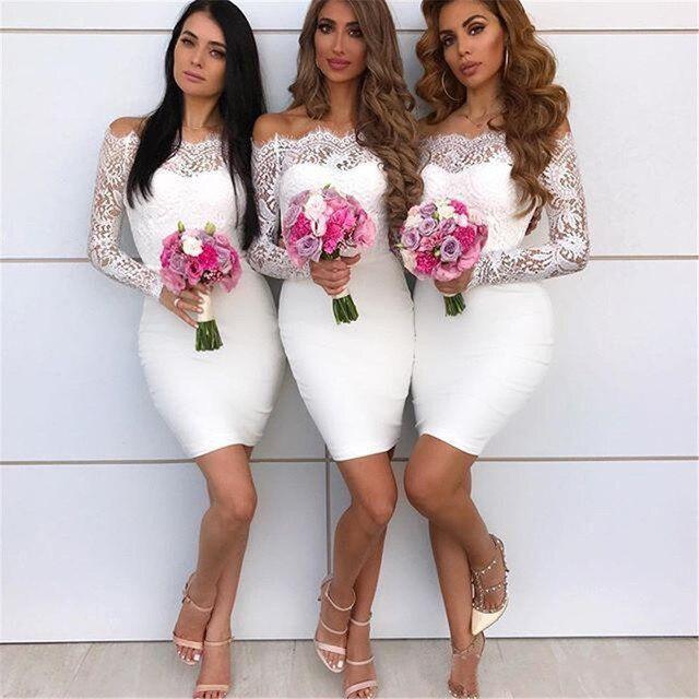 2018 White Long Sleeve Bridesmaid Dresses Boat Neck Sheath Mini ...