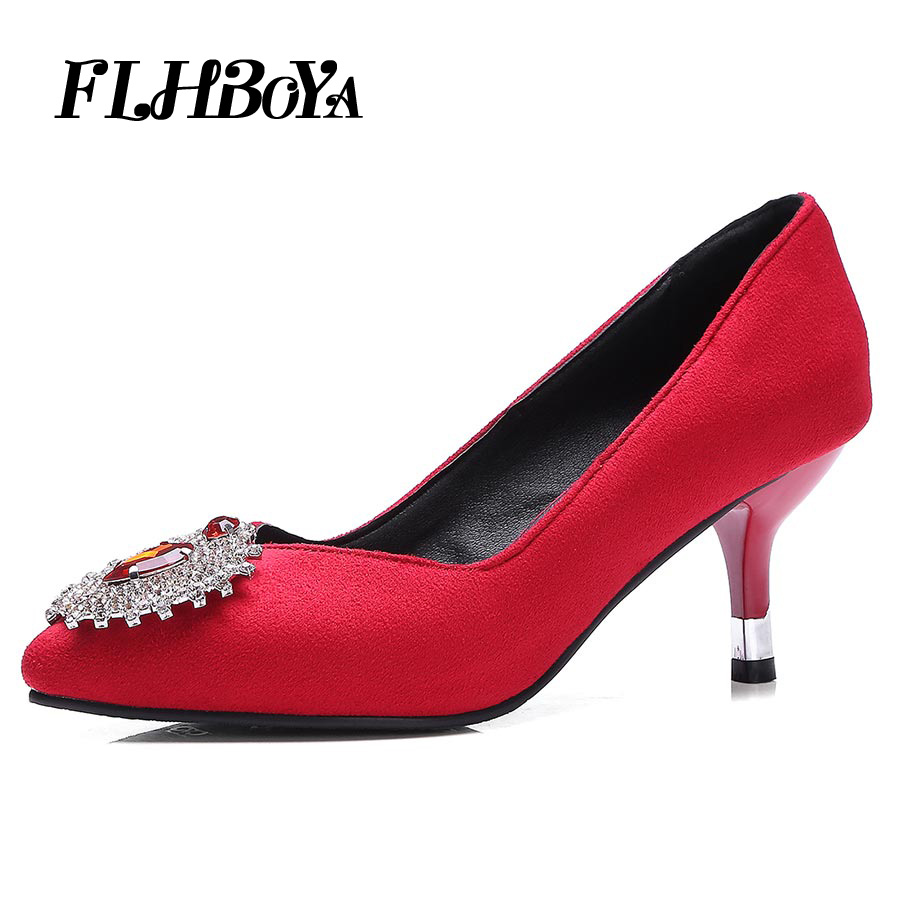 Rhinestone Pointed Toe High Heels Pumps Women Fashion Thin Heel Court shoes Crystal Ladies OL Girl Party Bling Wedding Red pumps yeelves new women fashion thin high heels pumps yellow or black heels court shoes pumps for ladies girl party plus size bowtie