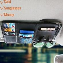 แบบพกพา Fastener Cip แว่นตาคลิปการ์ด Clamp PU คุณภาพสูงแว่นตาสำหรับรถ Sun Visor แว่นตากันแดด