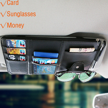Portable Fastener Cip Eyeglasses Clip Ticket Card Clamp PU High Quality Glasses Cases for Car Sun Visor Sunglasses Holder