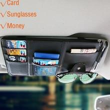 휴대용 패스너 cip 안경 클립 티켓 카드 클램프 자동차 썬 바이저 선글라스 홀더에 대 한 pu 고품질 안경 케이스