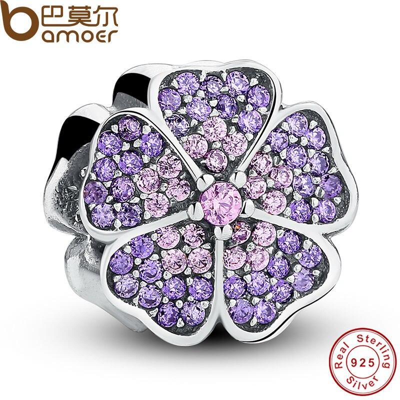 100 925 Sterling Silver Sparkling Primrose Pink Purple CZ Charm Fit Bracelet Jewelry Making Party Birthday