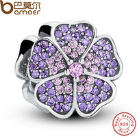 100 925 Sterling Silver Sparkling Primrose Pink Purple CZ Charm Fit Bracelet Jewelry Making Party Birthday