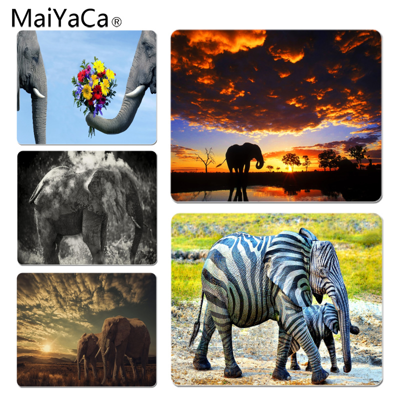 MaiYaCa Vintage Cool Elephant Wallpapers Silicone Pad to Mouse Game Size for 18x22cm 25x29cm Rubber Mousemats
