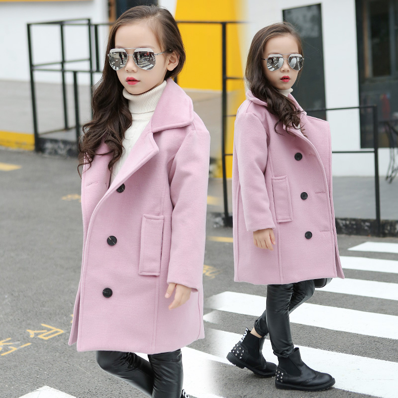 Girls Woolen Coat Fall Winter Korean Kids Quilted Thickening Long Outerwear Children's Wool & Blends Jacket New Windbreaker A771 new 10 1 lcd combo for samsung galaxy note 10 1 sm p600 p605 p600 lcd display touch screen digitizer glass assembly with frame