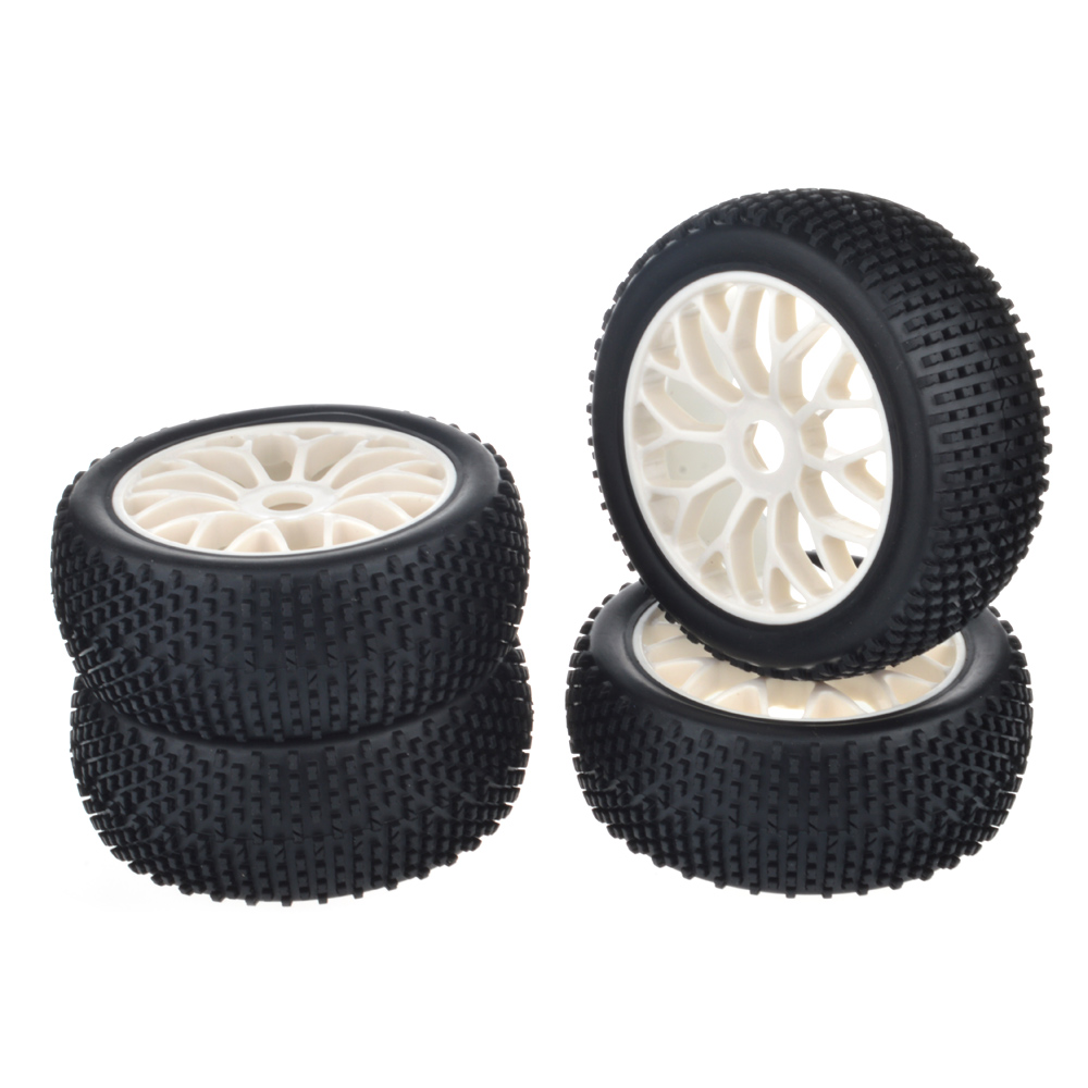 4pcs 1/8 Buggy black Rubber tires off road white wheels fit for 1/8 RC Car HSP Tamiya Kyosho RC Buggy car model white