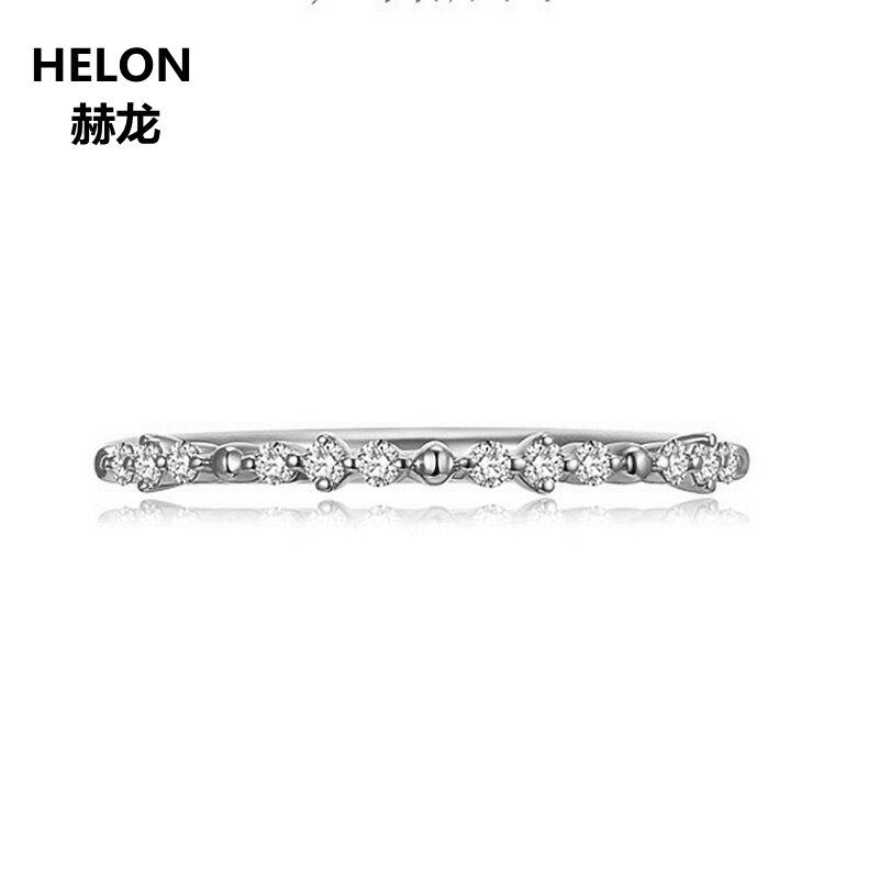 Solide 10 k or blanc femmes bague de fiançailles de mariage diamants naturels bande femmes anniversaire