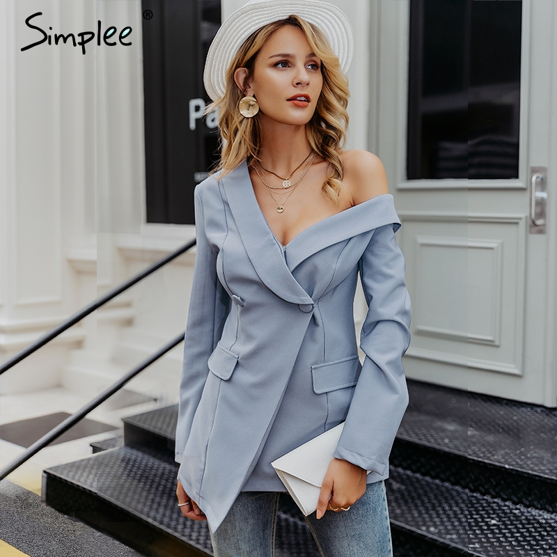 Simplee Sexy One Shoulder Teal Blazer Women Solid Asymmetrical Work Autumn Female Blazer 2019 Office Elegant Ladies Blazer Coat