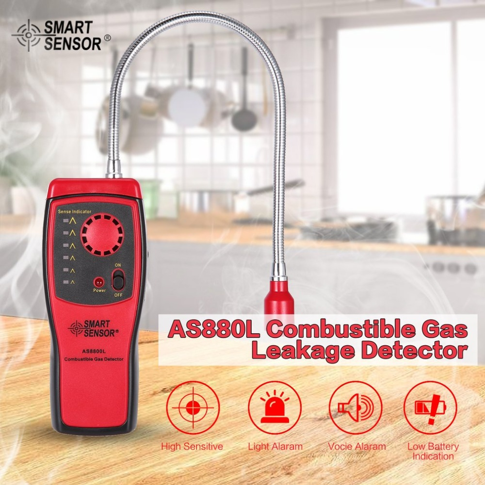 SMART SENSOR AS8800L Combustible Gas Detector Flammable Natural Gas Leakage Tester Tool Methane Gas Leak Detector Analyzer