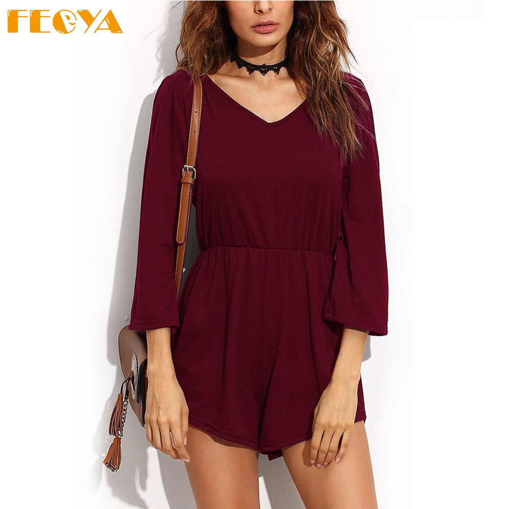 Feoya New Spring Summer Women Jumpsuits Shorts Sexy V-collar Backless Lace Up Body Pants High Elastic Waist Shorts Rompers