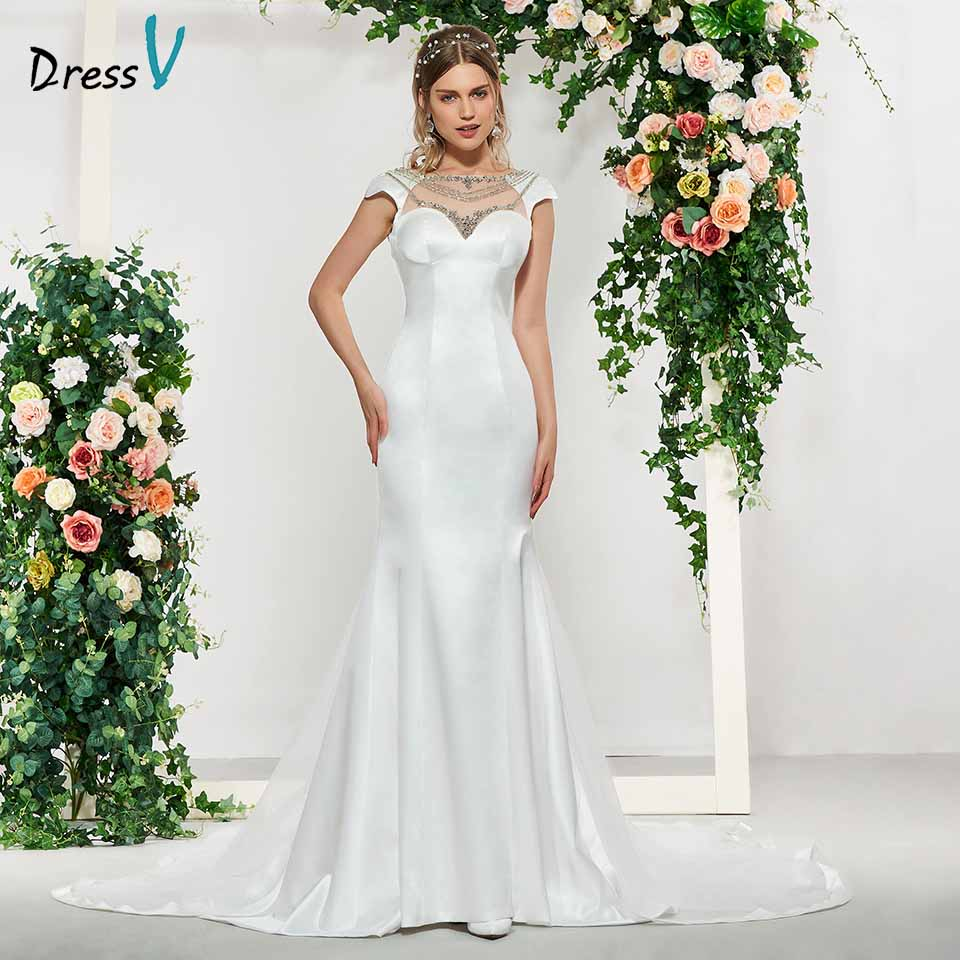 Dressv Elegant Ivory Cap Sleeves Backless Mermaid Wedding Dress Floor Length Simple Bridal Gowns Trumpet Wedding Dresses