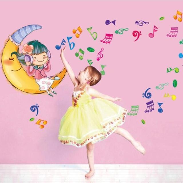 Cute Cartoon Music Girl Sticker Good Night Baby Girls Room Wall