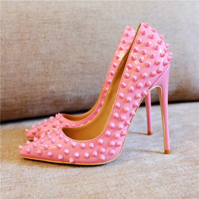 цена на Sexy Rivets Pointed Toe High Heel Pumps Pink Red Patent Leather Party Shoes Fashion Thin Heels Shallow Women Shoes Wedding Shoe