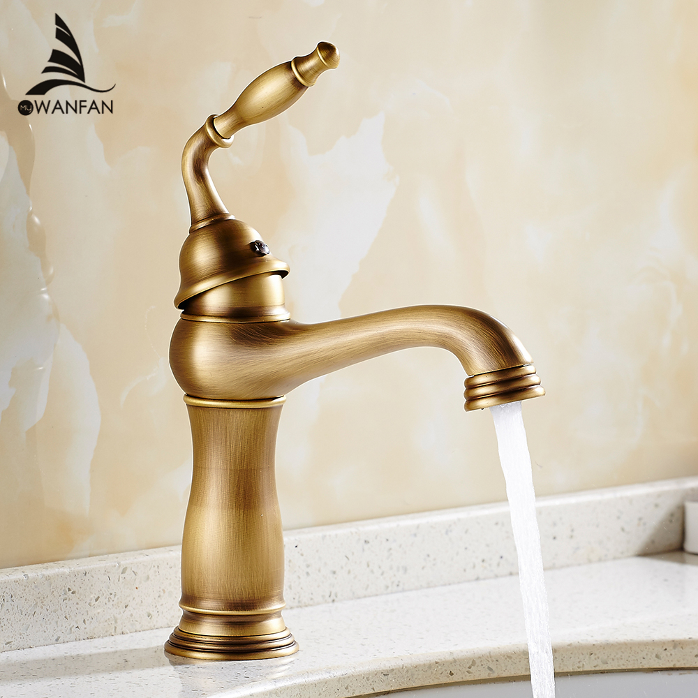 Basin Faucets Solid Brass Deck Mount Bathroom Sink Faucet Single Handle 1 Hole Easy Install Vintage Antique Mixer Tap 9220F swanstone dual mount composite 33x22x10 1 hole single bowl kitchen sink in tahiti ivory tahiti ivory