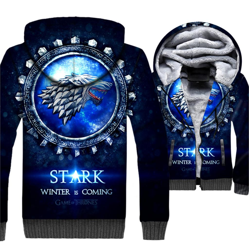 Game Of Thrones Hoodies Winter Is Coming House Stark Wolf Print 3D Jackets Men 2019 Winter Warm Sweatshirts Hip Hop Streetwear
