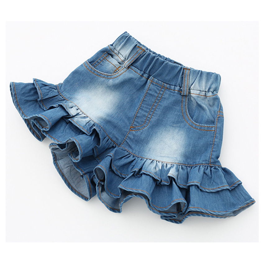 3-8 y 2019 summer girls ruffle   shorts   children   shorts   On Sales kids denim   shorts   for girl clothes summer jeans pant solid color