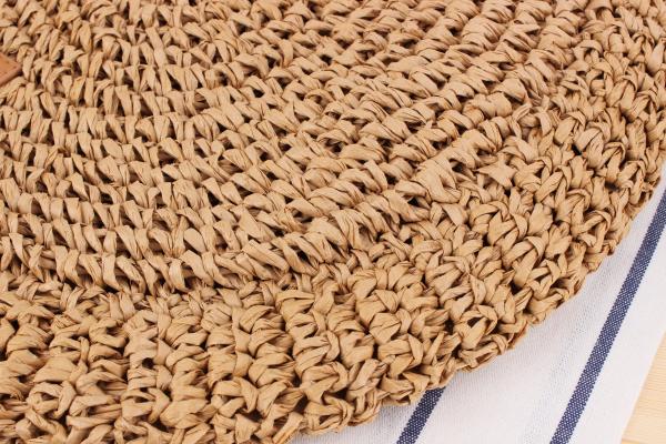 Round Straw Beach Bag Vintage Handmade Woven Shoulder Bag Raffia circle Rattan bags Bohemian Summer Vacation Casual Bags 7