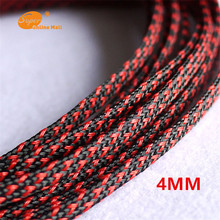 1M Red & Black 4mm Braided PET Expandable Sleeving High Density Sheathing Plaited Cable Sleeves