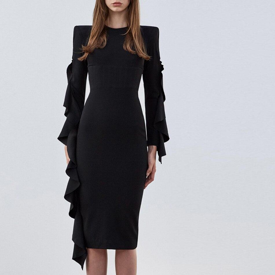 Donne del Vestito Dalla Fasciatura O Collo Pieno Maniche Nero 2018 Autunno di Un Personaggio Famoso Vestito Aderente Vestidos Vestiti Da Sera della Celebrità Del Partito
