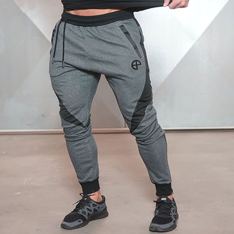 2018 New casual pants Jogger Pants Men Bodybuilding Pants For Runners Clothing Autumn Sweat Trousers Zip pocket men Sweatpants