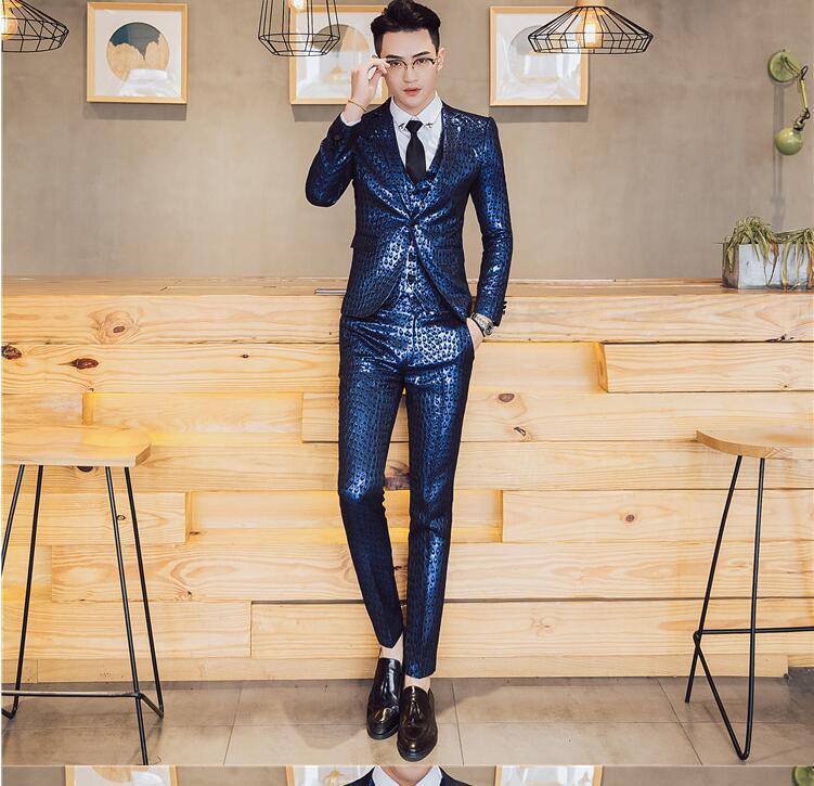 jacke Fashion Zeigen Kleine Männer Neue Weste Casual Drei stück gold Persönlichkeit Hosen Street Anzug Blau West Der rqyrfHwF