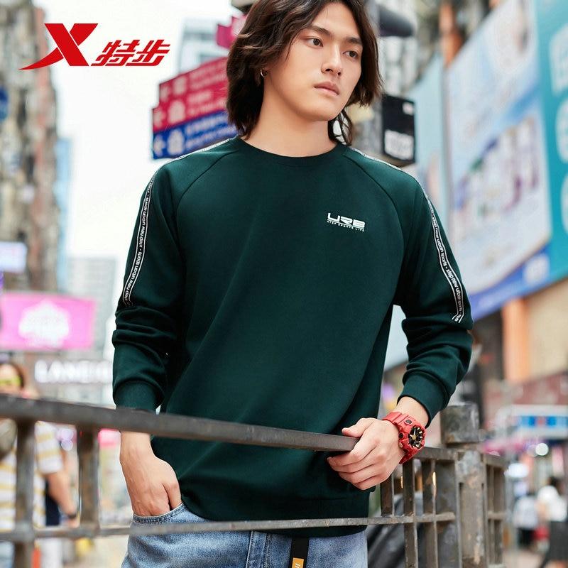 881329059205 Xtep мужские спортивные толстовки свитер осень повседневный спортивный свитер с круглым вырезом пуловер свитер с длинными рукавами - Цвет: green