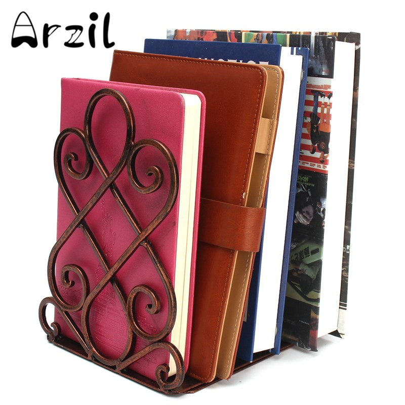2Pcs Set Book Shelf Iron Living Room Retractable Copper Metal Student Antique Color Retro