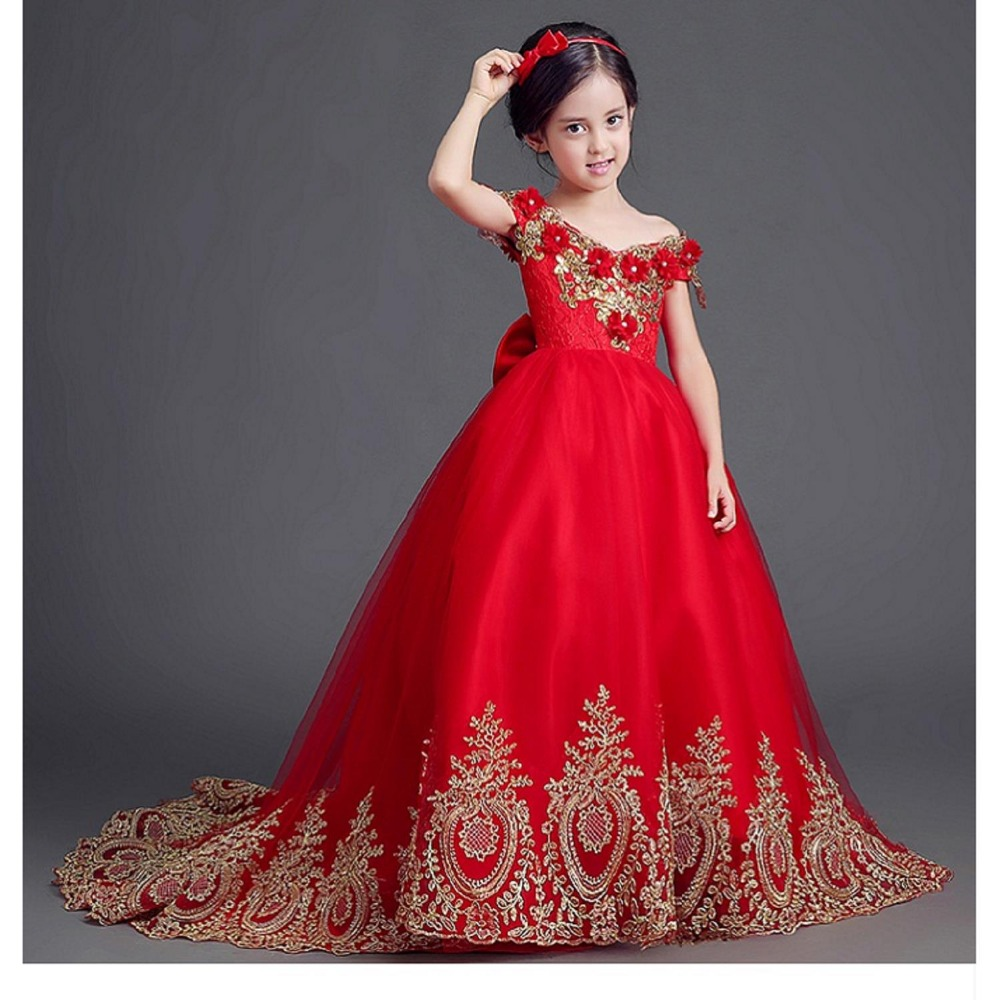 Exquisite Ball Gown Red Long Trailing Flower Girl Dresses for Weddings kids Elegant Gold Wire Birthday