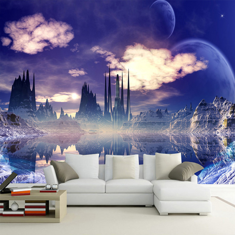 Custom Wall Mural Painting Castle In The Sky Photo Background Wallpaper For Living Room 3D Wall Murals Wallpaper Home Decor free shipping custom 3d mural retro european buildings in paris coffee hall the television background wall wallpaper