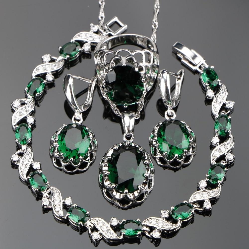 все цены на Wedding Green Zircon Silver 925 Jewelry Sets Women White Stones Earrings Bracelets Pendants&Necklaces Rings Set Gift Box