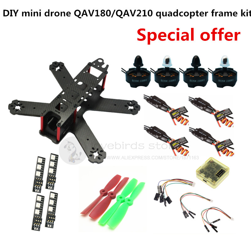 DIY FPV mini drone QAV180 / QAV210 cross race quadcopter frame kit pure carbon CC3D + D2204 + BLheli 12A ESC Special price diy h250 quadcopter frame kit fpv mini drone qav250 pure carbon frame cc3d 2204 2300kv motor simon k 12a esc 5045 prop