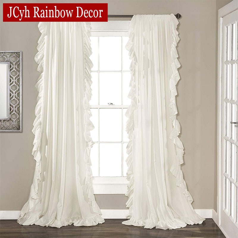 Korean Style Ruffles Lotus Leaf Solid Color Curtain For Living Room Window Rod Pocket Princess Girl White Curtain Bedroom
