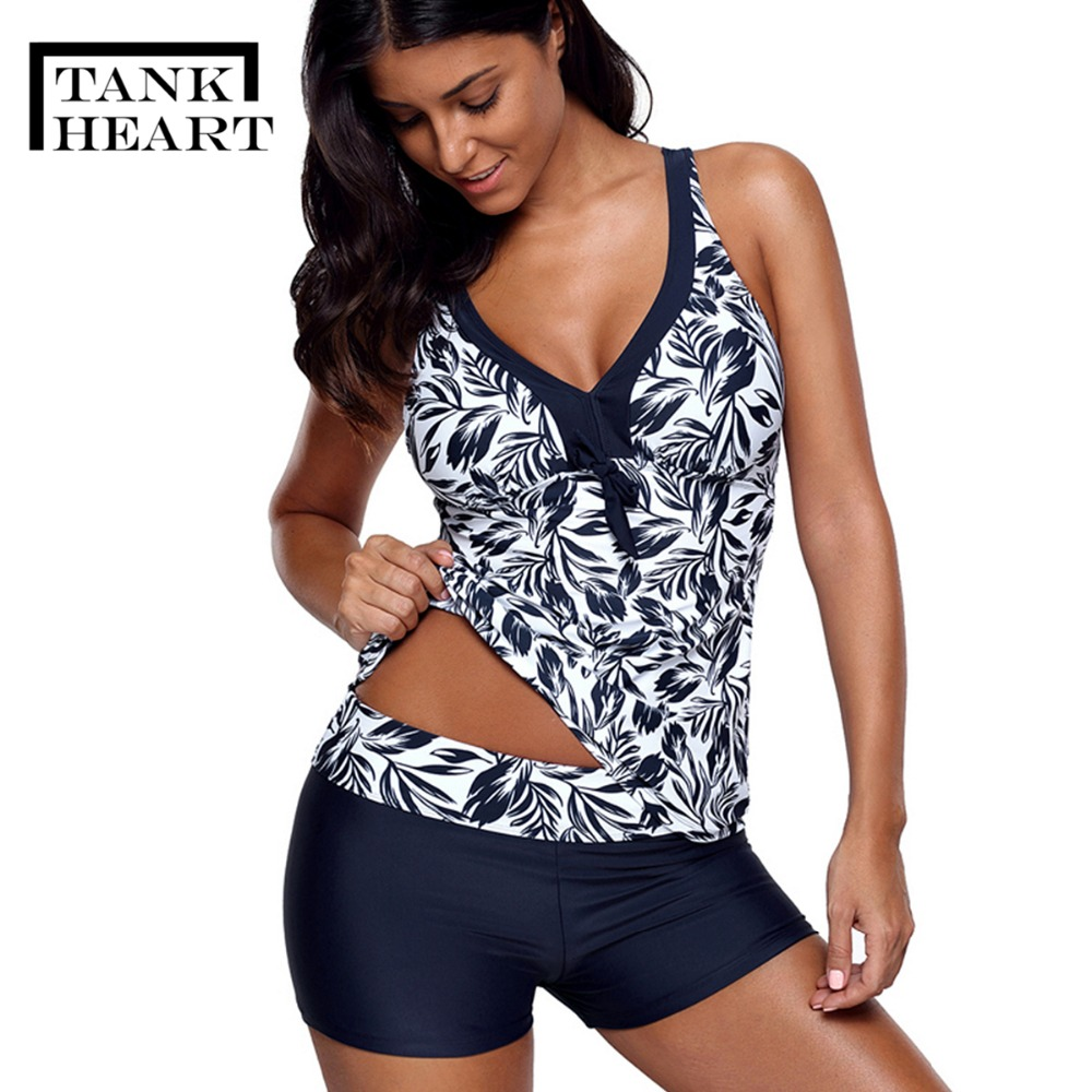Tank Heart Print Tankini Plus Size Swimwear Women Biquini Two Piece Swimsuit With Shorts Tankinis Brazilian Bikini Swimming Suit