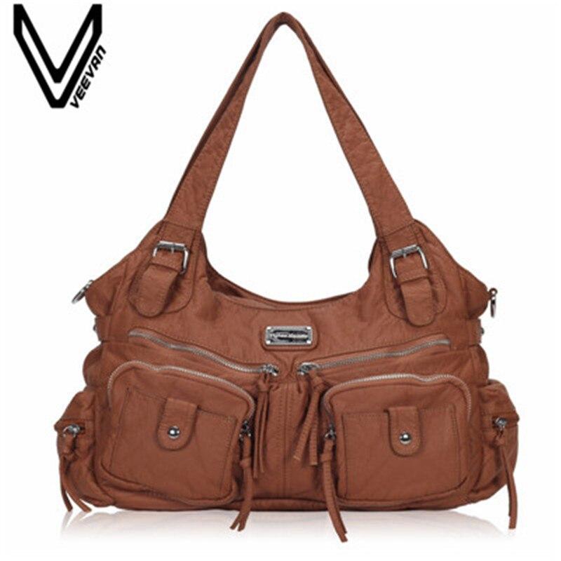VEEVANV Office Lady Tote Handbags Fashion Designer Leather Shoulder Bag Women Handbag Female Messenger Bag Vintage Crossbody Bag