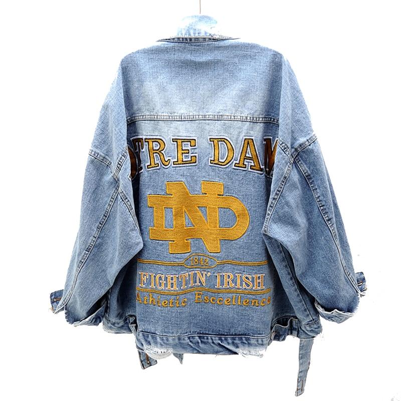 Women   Basic     Jacket   Long Sleeve Streetwear Hot Sale Jeans Coat Casual Vintage Outwear Autumn Embroidery Plus Size Denim   Jacket