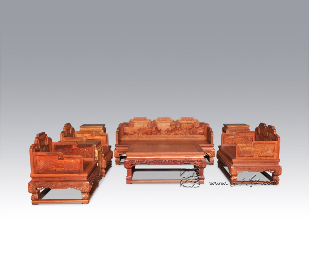 Hotel Drawing Room Luxurious Sofa Bed Suit Chinese Royal Rosewood Furniture 1+2+3 Seats 8 Pieces Set Redwood Tea Table Chair Set 8 pieces sofa bed furniture set 1 2 3 seats chair suit chinese royal rosewood triple armchair red sandalwood small low table set
