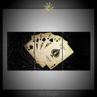 3 Cartões de Jogo de Poker Do Painel Pictures Wall Art Prints on Canvas Modern Pop Art Posters e impressões para Decoração do Quarto