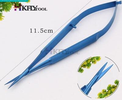 Микроскопические инструменты 12,5 см Микро ножницы, конъюктива зубчатые, щипцы, датчики, крючки, лопатки, щипцы - Цвет: Titanium Straight