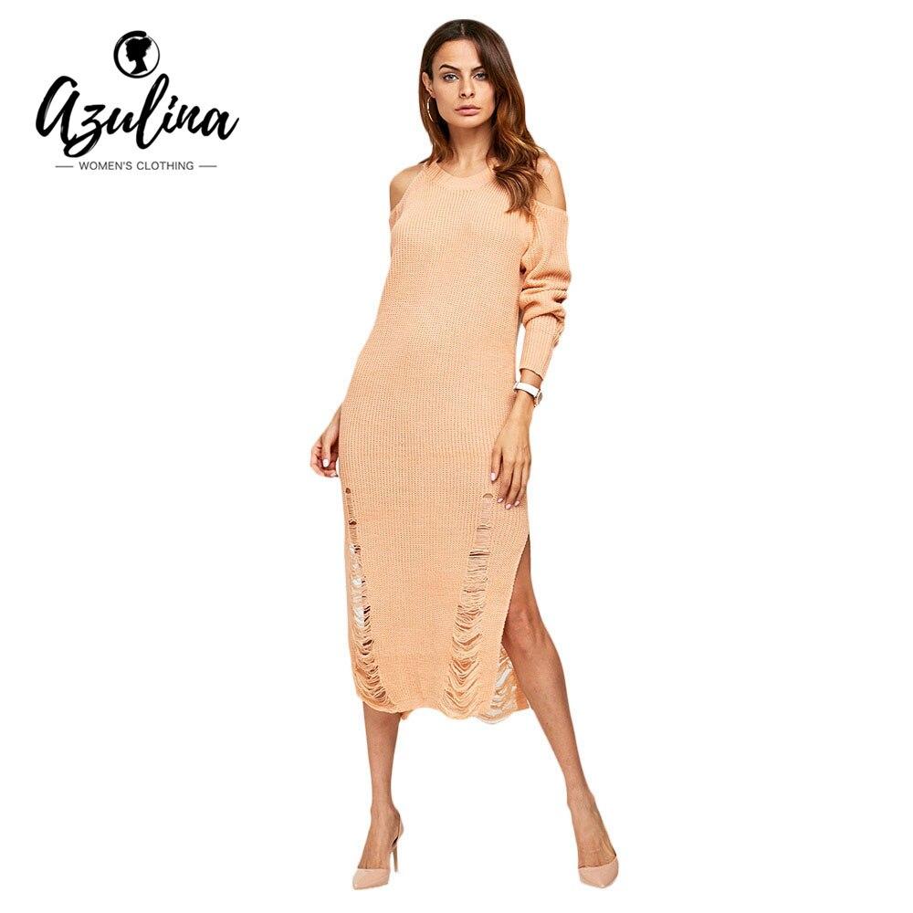 Azulina cold shoulder rasgado de punto sweater dress mujeres de primavera 2017 d