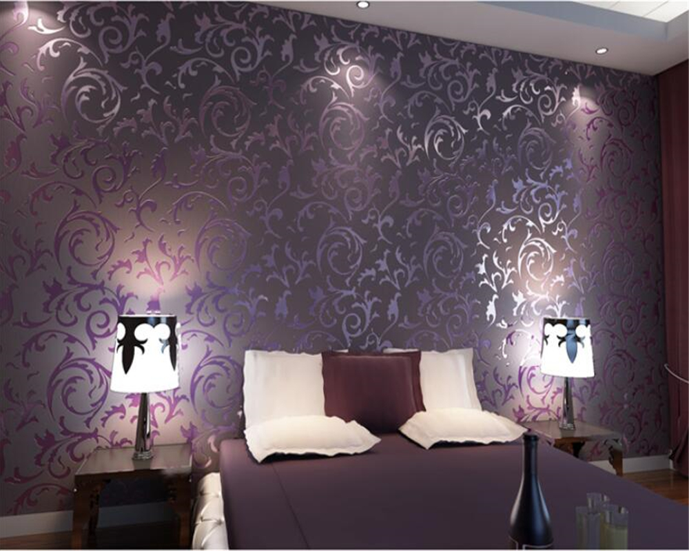 wall paper home decor High quality wallpaper 3D papel de parede bedroom background desktop wall paper rolls Purple Beibehang